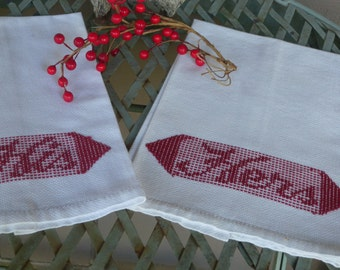 Set of Two Vintage Linen His and Hers Embroidered Huck Bath Guest Hand Towels