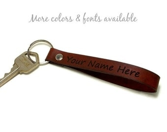 Personalized Key Fob, Leather Key Fob, Leather Key Chain, Gifts Under 15, Mother's Day Gift, Father's Day Gift