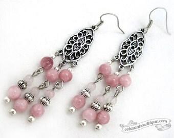 Peach chandelier earrings pink chandelier earrings boho earrings jewelry rhodonite earrings gypsy earrings hippie dangles long earrings gift