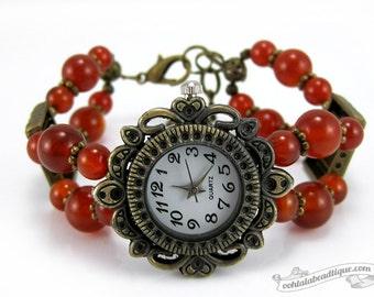 Carnelian watch brown bracelet watch bronze wrist watch birthstone jewelry beaded watch adjustable watch ladies watch birthday gift for her
