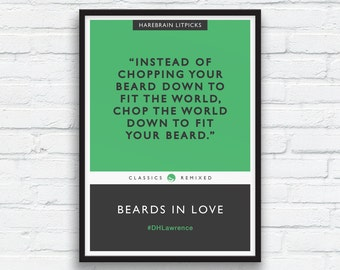 Beard Art Print, DH Lawrence print, Charcoal Black Decor, Green, Literary parody, Penguin Classics parody, Funny Beard Quote, Printable Art