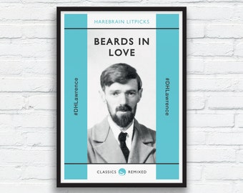 Beard Art Print, DH Lawrence print, Aqua and Charcoal Black Decor, Beard Play, Penguin Classics parody, Funny Beard Print, Printable Art