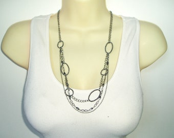 Triple Strand Chain Beaded Necklace - Chunky Fun Gunmetal Chain Multiple Chain Necklace