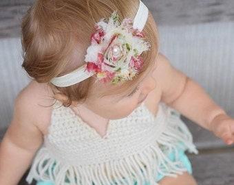 Boho Baby Headband. Boho Newborn Headband. Boho Baby Girl. Boho Babe. Ivory Baby Headband. Ivory Christening Headband. Ivory Baptism Girl.