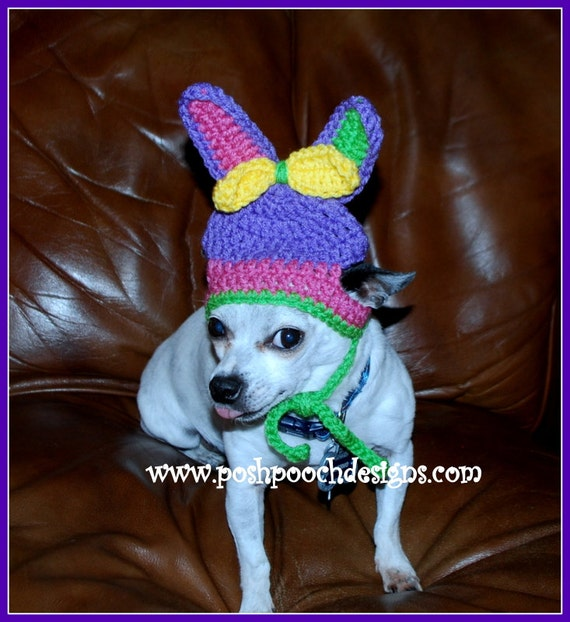 Instant Download  Crochet Pattern - Bunny Dog Beanie Hat - Small Dog Beanie