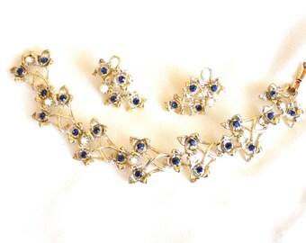 Vintage Coro Bracelet and Earring Set, Rhinestone & Faux Pearl, Blue Rhinestones, Link Style, Signed