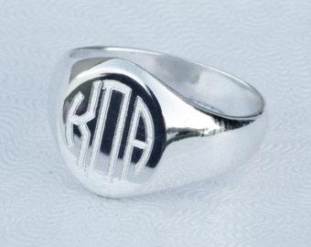 Personalized Jewelry, Circular Monogram Ring, Oval Signet Ring, Engraved Ring, Personalized Ring, Engraveable Ring, Bridesmaid Gift