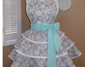 Grey Damask & Polka Dot Print Accented With Mint Green Woman's Retro Apron With Tiered Skirt And Bib