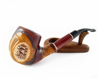 "New Marine Pipe Metal ""SHIP"", Tobacco Pipe, Smoking Pipes Exclusive Long Wooden Pipe Handcrafted, Best price in FPS & POUCH Gift"
