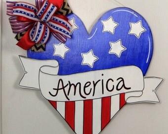 Patriotic Heart Door Hanger, Hear Door Hanger, America Door Hanger, 4th of July, Stars and Stripes, Summer Door Hanger