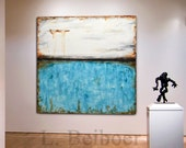Original Large Square Abstract Painting 48 x 48 white blue Contemporary Art Modern Acrylic Turquoise Painting MADE-TO-ORDER by L.Beiboer