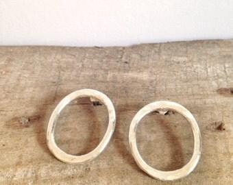 Silver Hoop Earrings - Solid Silver Hammered Circle Earrings