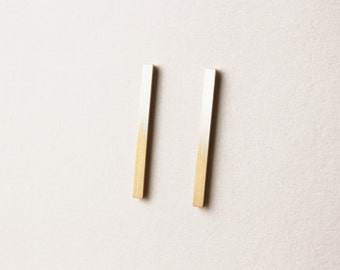 Ombre square stud earrings in silver/gold