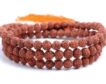 6mm Natural Rudraksha Bodhi Seed Brown Gemstone Rare Mala Prayer Round Loose Beads 24 inch 108 ...