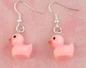 Pink Toy Duck Duckling Charm Earrings - Vintage Inspired - Retro Kitsch 50s Jewellery - Easter Gift - Rubber Duck Earrings - Kawaii Jewelry