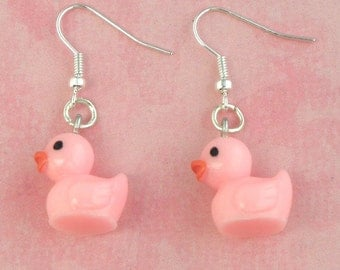 Pink Toy Duck Duckling Charm Earrings - Vintage Inspired - Retro Kitsch 50s Jewellery - Easter Gift - Rubber Duck Earrings - Kawaii Jewelry