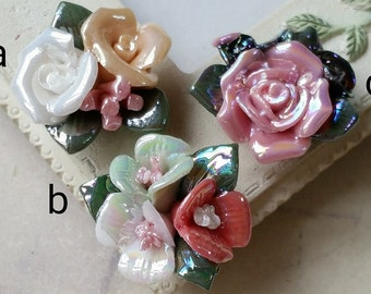 Two Holes and Flat Back Porcelain Cluster Roses  (t.c)