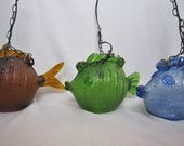 Fish Glass Pendant Lights, S/3