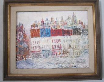 Winter Cityscape Painting, Signed deChavigny