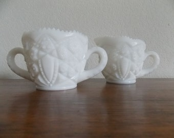 Milk Glass, Vintage Milk Glass, McKee Milk Glass Sugar and Creamer, McKee and Co., MCK, Toltec Pattern 1940's