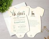 Oh Deer Baby Shower Invitation - Shaped Oh Deer Shower Invitation - Woodland - 5x7 - Set of 25