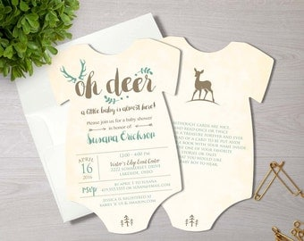 Oh Deer Baby Shower Invitation | Woodland Invitation | Printed Die Cut  Invitation | Baby Bodysuit