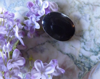 Huge Signed Sterling and Onyx Pendant, Pin, Brooch