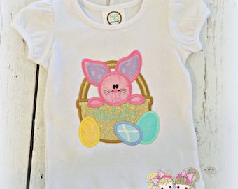 Girls Easter shirt - personalized Easter shirt - first Easter shirt - Easter bunny in basket - embroidered Easter shirt for girls