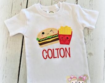Burger and Fries Shirt- Best Buds- Monogrammed shirt