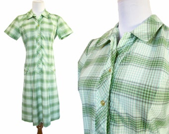 Vintage 60s Dress // Vintage Plaid Dress // Vintage 70s Dress // Vintage Sears Dress //   Medium