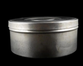 Big Round Circular Spun Aluminum Canister Rustic Rustic Semi Distressed Tin Box Film Canister? Storage Organizer Organization