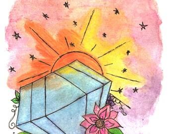 Diamond, Watercolor art print, Tattoo Art print, Sunset and stars, Wall Decor, sunrise, Peony flowers, pink, yellow and orange color, flower