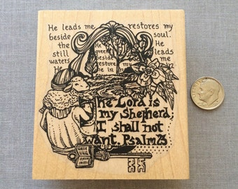 Psalm 23 Collage Rubber Stamp