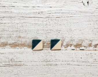 Ceramic Square Earrings, Dark Teal, Unique Gift, Modern, Gift for Her, Minimal, Ceramics, Modern Jewelry, Ceramic Jewelry