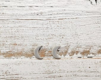 Ceramic Moon Earrings, Soft Grey, Unique Gift, Moon Phase, Gift for Her, Moon Jewelry, Ceramics, Unique Jewelry
