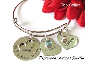Mom Bracelet with children names//Bangle bracelet//Mothers Day Gifts//Accessories//lucky charm gifts//birthstone bracelets/gifts for mothers