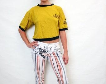 ON SALE Vintage 90s Original Just Cavalli Jeans Psychedelic Print Elastic Denim Pants
