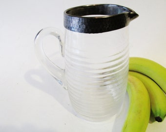 Vintage Water Pitcher, Arts and Crafts Juice Pitcher, Hammered Silver