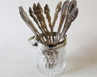 Vintage Crystal Ice Bucket, Silver and Crystal, Mad Men Style, Mini Crystal Ice Bucket, Retro Bar Ware