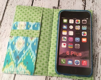 Samsung Galaxy Note, Galaxy Plus,, iPhone Plus wallet case with removable gel case - blue and green ikat