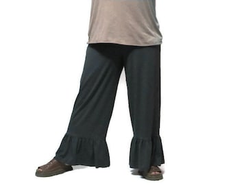 Plus Size Ruffle Pants in Lush Eco Friendly,Hand Dyed Organic Cotton/Bamboo Jersey-Made to Order&Choice of Colors, XL,2X,3X,4X,5X,6X, 7X, 8X