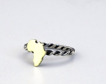 Brass Africa Ring Twisted silver band Africa Continent Ring Rustic Africa- Sterling Silver (925)