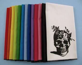 NAPKINS - super soft eco friendly reusable napkins - you choose how many - with FLOWER SKULL print on any of my thirteen colors