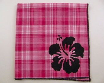 Hankie- TROPICAL FLOWER shown on super soft PINK Plaid cotton Hankie-or choose from white or any solid colors or plaids shown in pics