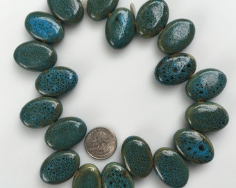 Bead Destash, Bulk, Strands, Ceramic, Top-Drill, Oval, Blue, Green