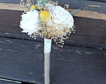 Flower Wand, Flower Girl, Toss Bouquet, Craspedia, Billy Buttons, Alternative Natural Bouquet, Keepsake Wood Bouquet, Rustic Wedding