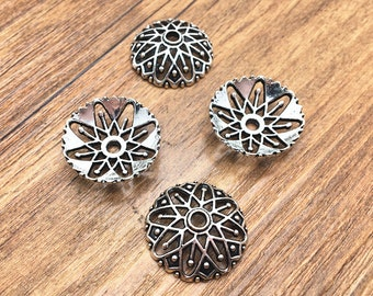 Bead Caps -15pcs 20mm Antique Silver Round Filigree Bead Cap Charm Pendant DIY Jewelry Findings M108-3