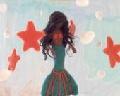 Custom Made Baby Mobile - Needle Felted Mermaid Mobile - Dark Skin Mermaid - Summer, Ocean Mobile - Nursery Decoration,