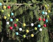 "Christmas Garland- ""Vintage Christmas"" Felt Ball Garland"