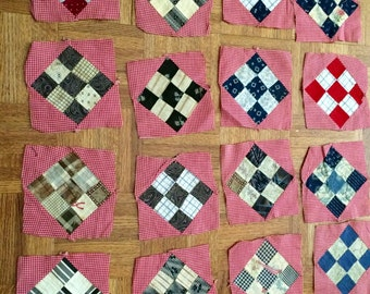 Vintage Quilt Squares Handmade Hand Sewn 1940 1950